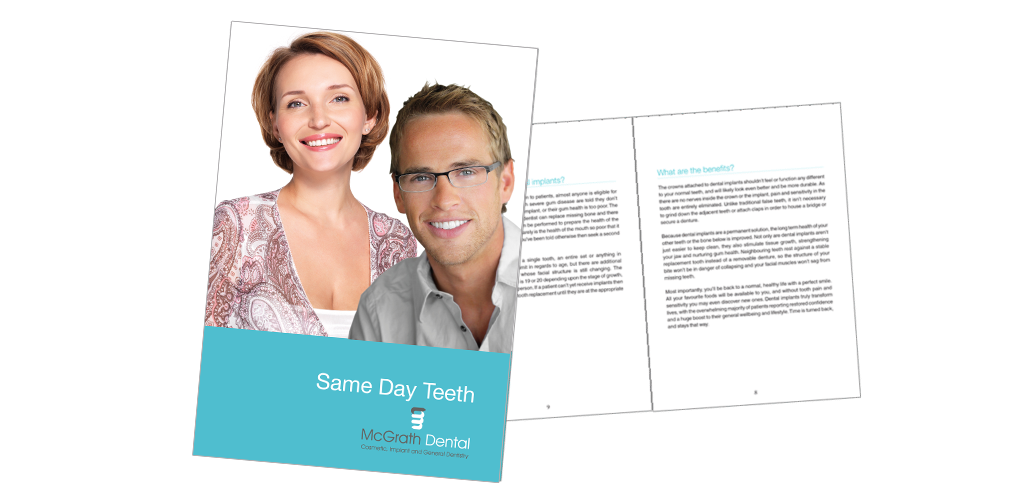 cover and two inside pages of Same Day Teeth Booklet